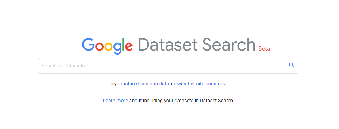 سایت Dataset Google